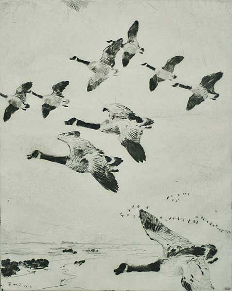 Migrating Geese - FRANK BENSON - drypoint