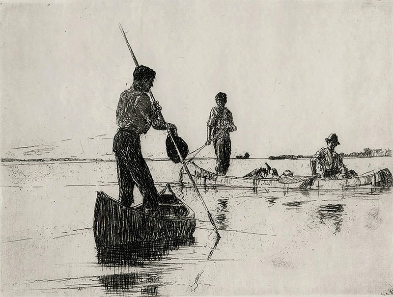 Two Canoes - FRANK BENSON - etching