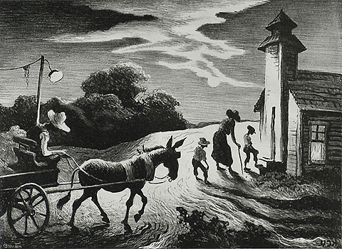 Prayer Meeting - THOMAS HART BENTON - lithograph