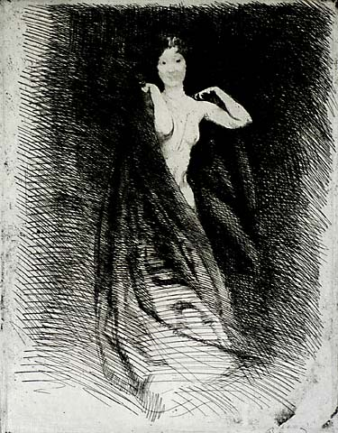 La Femme - ALBERT BESNARD - etching printed with plate tone