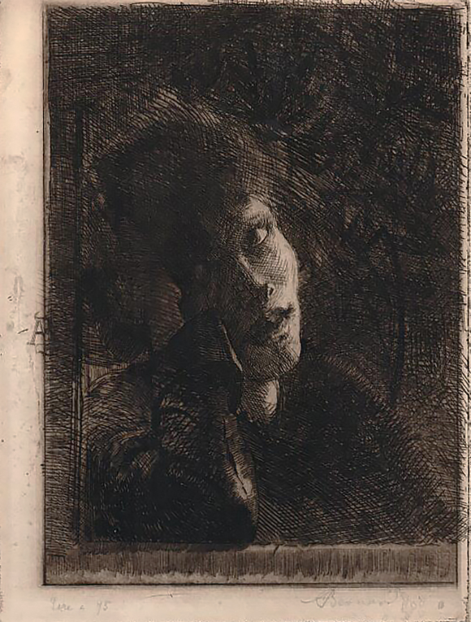 La Muse Accoudée (The Leaning Muse) - ALBERT BESNARD - etching
