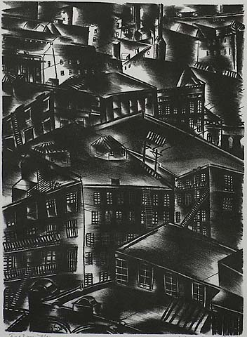 Factory Houses - JOLAN GROSS-BETTELHEIM - lithograph
