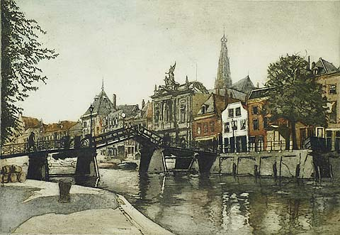 Haarlem, Spaarne - CEES BOLDING - etching and aquatint printed in colors