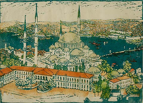 Suleymaniye Mosque, Istanbul - EMMA BORMANN - woodcut printed in color with added hand-coloring