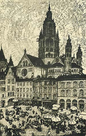 Mainz, Germany - EMMA BORMANN - woodcut with added hand-coloring
