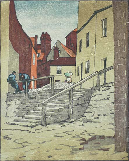 In Old Whitby - SYLVAN G. BOXIUS - woodcut (linocut?) printed in colors
