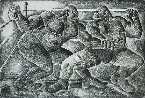 Wrestlers - ELMER BROWN - etching