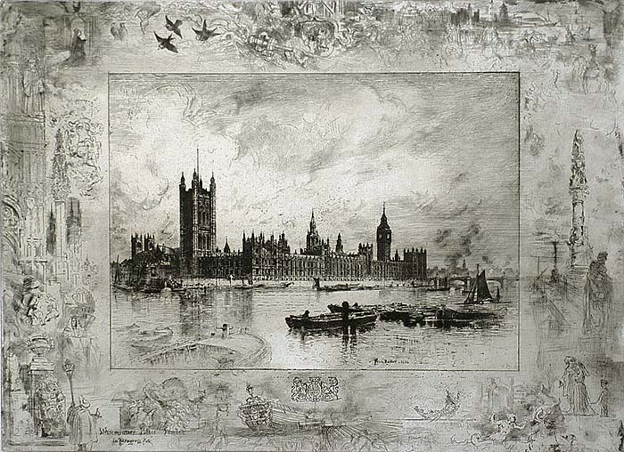 Westminster Palace - FELIX BUHOT - etching and drypoint
