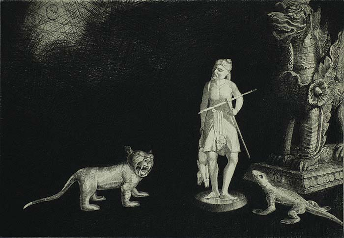 The Hunter - CHARLES W. CAIN - etching and drypoint