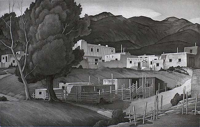 Taos (New Mexico) - CHARLES M. CAPPS - etching and aquatint