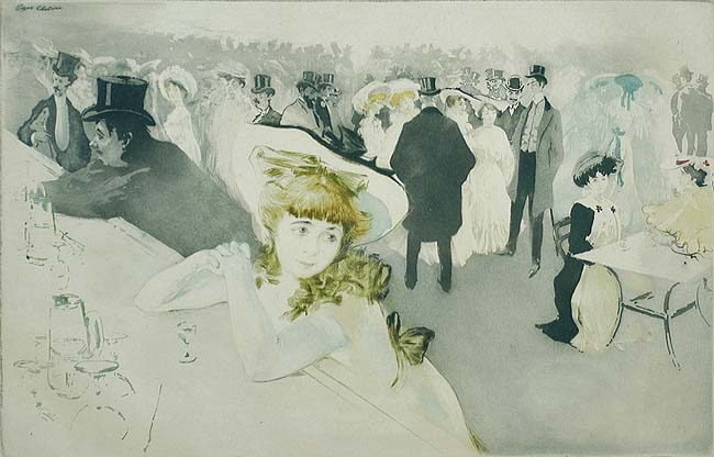 Le Promenoir (The Promenade) - EDGAR CHAHINE - etching, drypoint and aquatint printed in colors