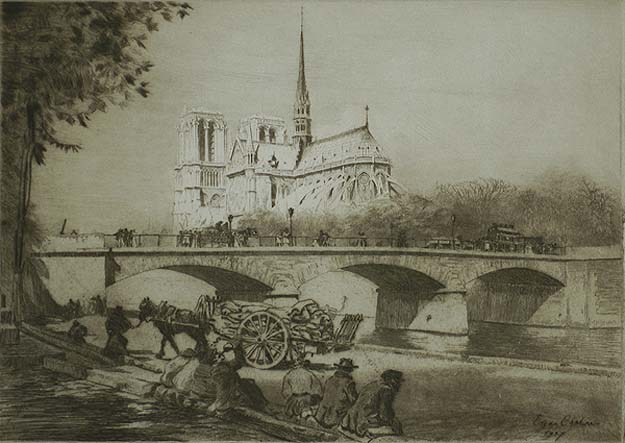 L'Abside de Notre Dame de Paris - EDGAR CHAHINE - etching and drypoint