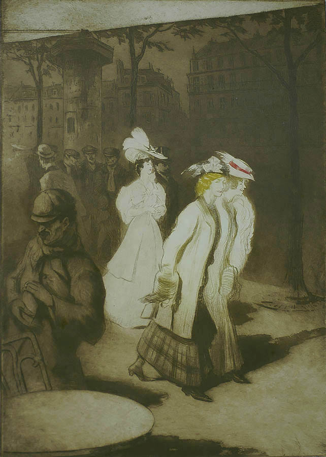 Women About Town (Les Trotteuses) - EDGAR CHAHINE - etching, soft ground and aquatint printed in colors