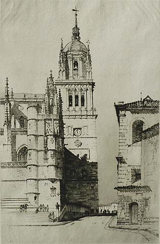 The Cathedral, Salamanca - SAMUEL CHAMBERLAIN - drypoint