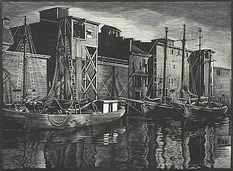 Fish Pier (Portland, Maine) - ASA CHEFFETZ - wood engraving