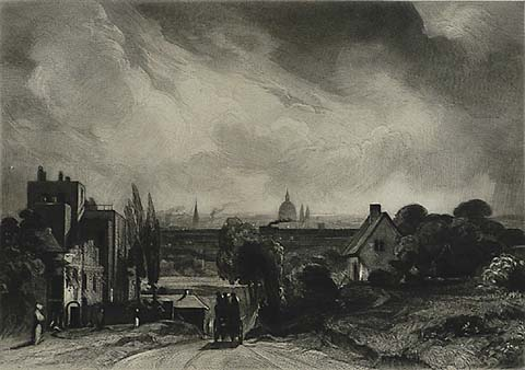 London from Hampstead; Sir Richard Steele's Cottage - (AFTER) JOHN CONSTABLE - mezzotint