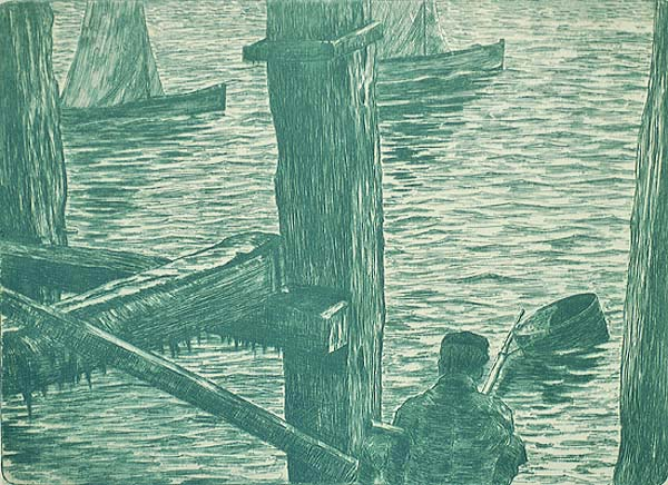Fishing at the Dock - OMER COPPENS - etching