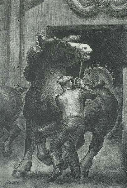 Prize Stallions - JOHN STEUART CURRY - lithograph