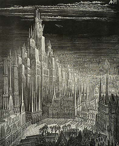 Book of Revelation, XX (4-6) The Millennium - VICTOR DELHEZ - wood engraving