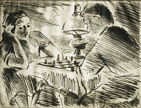 The Chess Game - WERNER DREWES - drypoint