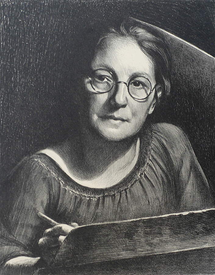 Self-Portrait - MABEL DWIGHT - lithograph