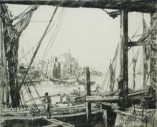 Sparks Wharf (London) - AILEEN MARY ELLIOTT - etching and drypoint