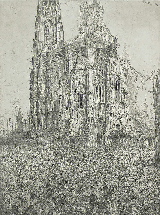 The Cathedral (first plate) - JAMES ENSOR - etching