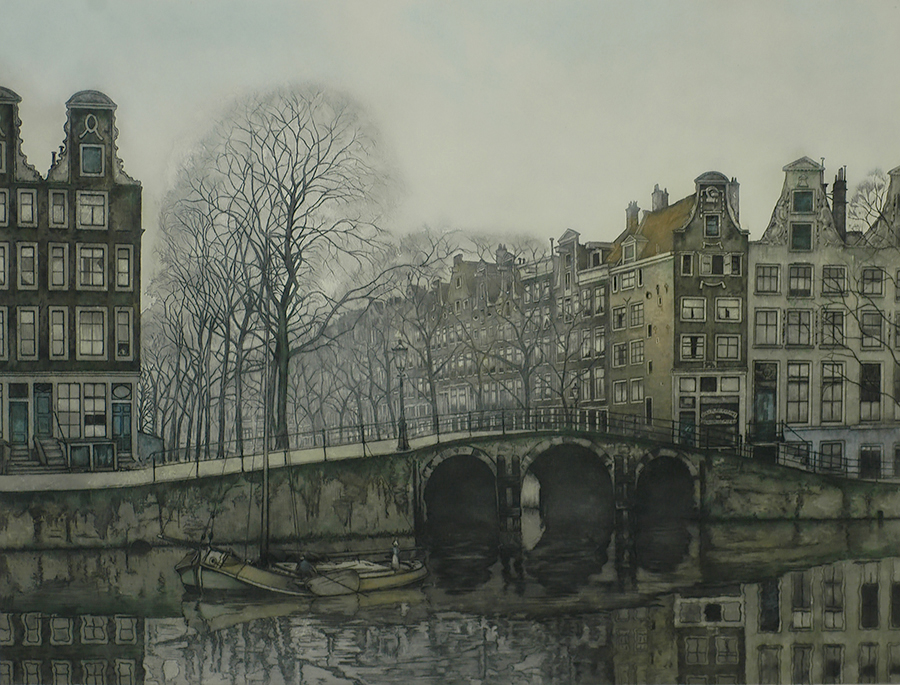 Leidsegracht at the Herengracht (Amsterdam) - FRANS EVERBAG - etching and aquatint printed in colors