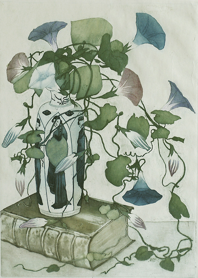 Morning Glories in a Chinese Vase on an Old Book (Tak met Akkerwinde in een smalle hoge Chinese vaas op een antiek boek) - FRANS EVERBAG - etching and aquatint printed in colors