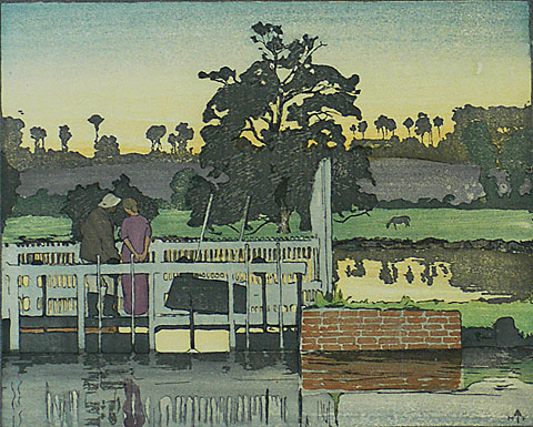 Floodgates - FRANK MORLEY FLETCHER - woodcut printed in colors