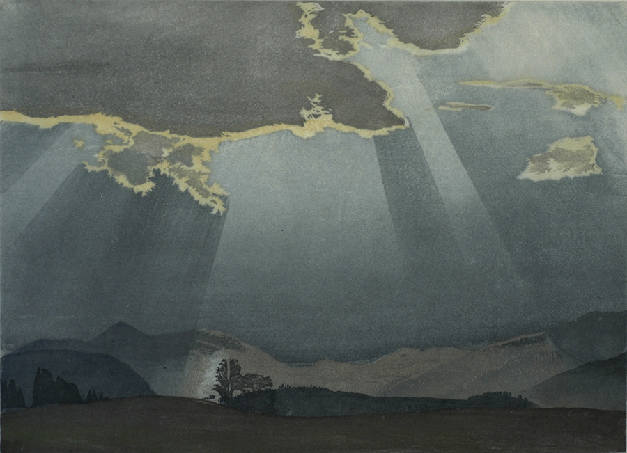 Sun Breaking through the Clouds - HANS FRANK - woodcut printed in colors