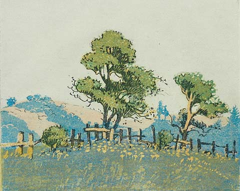 Pajaro Valley, CA - MAY GEARHART - soft-ground etching and aquatint printed in colors
