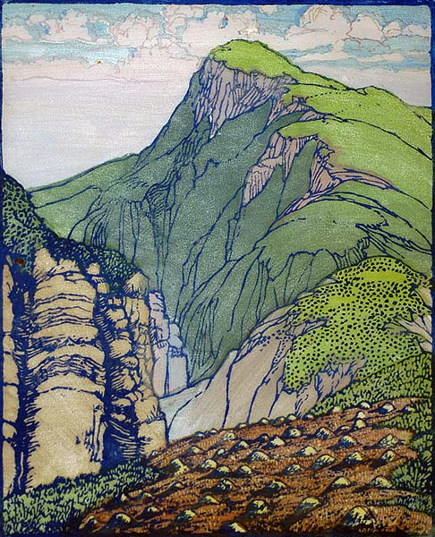 South Mountain - FRANCES GEARHART - block print printed in colors