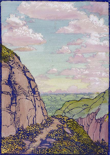 The Trail Home - FRANCES GEARHART - block print printed in colors