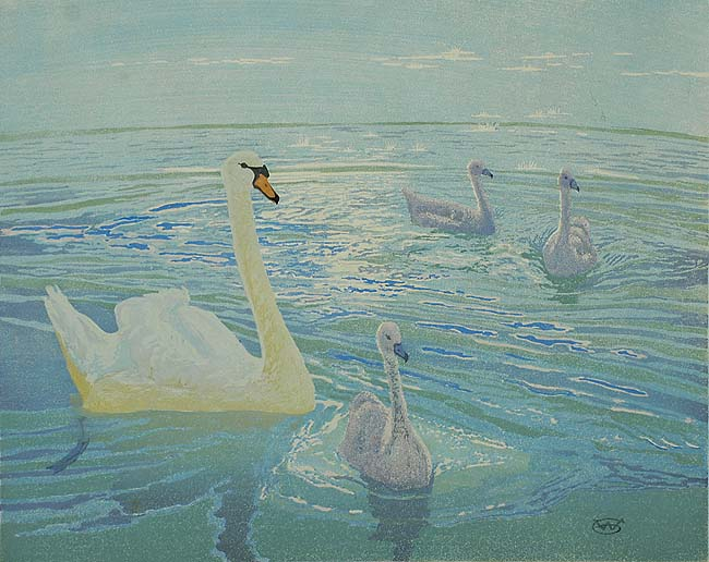 Swan and Cygnets - WILLIAM GILES - woodcut printed in colors