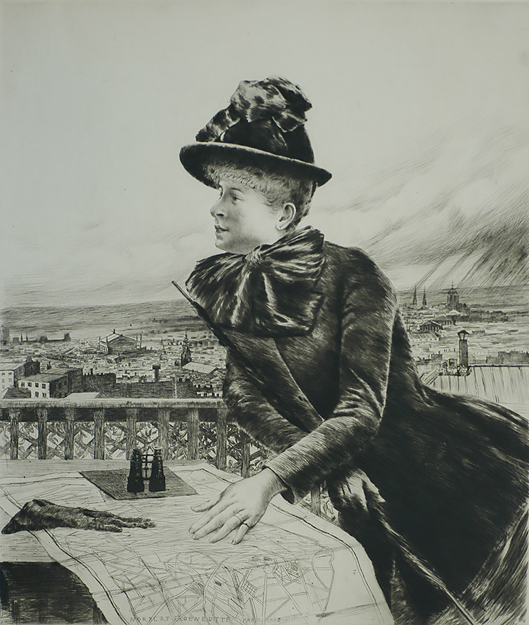 Young Woman Viewing Paris from the Heights of Montmartre (Jeune Femme Regardant Paris des Hauteurs de Montmartre) - NORBERT GOENEUTTE - etching and drypoint