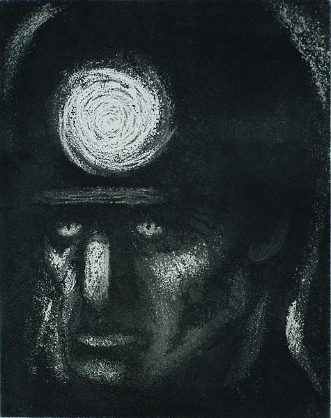Miner's Head - BLANCHE  GRAMBS - aquatint