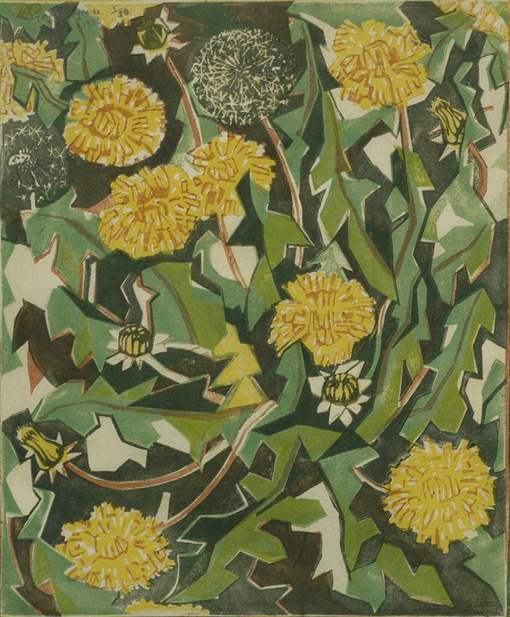 Dandelion - WILLIAM GREENGRASS - linocut printed in colors