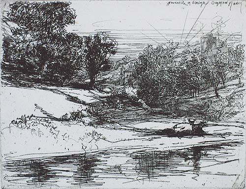 Newcastle in Emlyn - SEYMOUR HADEN - etching with touches of drypoint