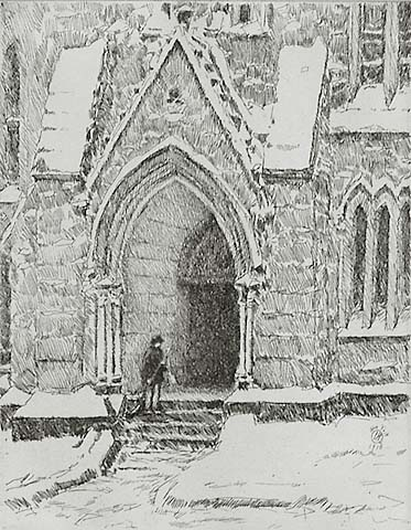Church Doorway, Snow - CHILDE HASSAM - etching