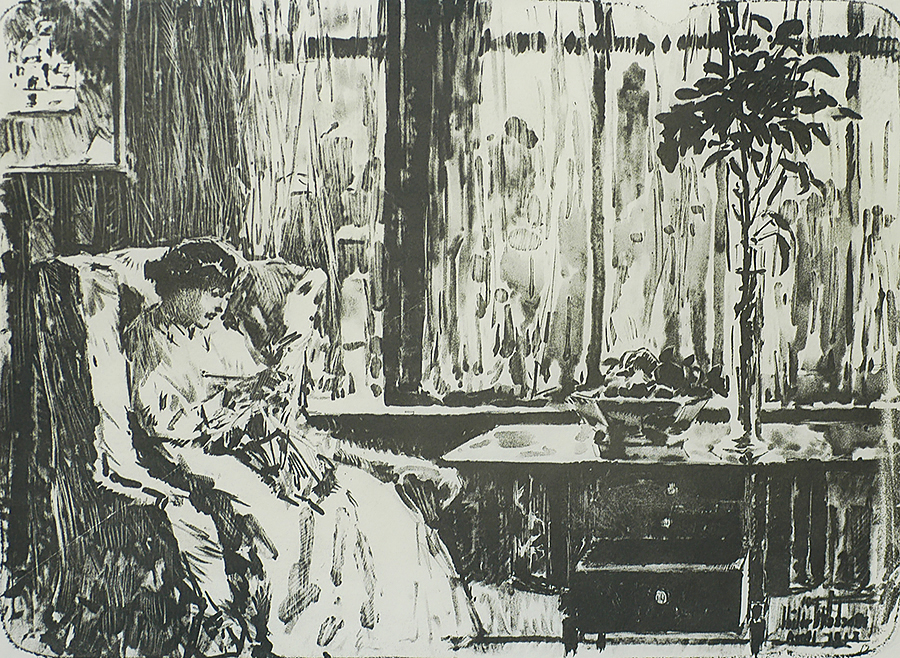 The Broad Curtain - CHILDE HASSAM - lithotint