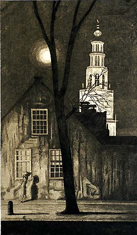 Illuminated Church Tower, Groningen - AREND HENDRIKS - etching