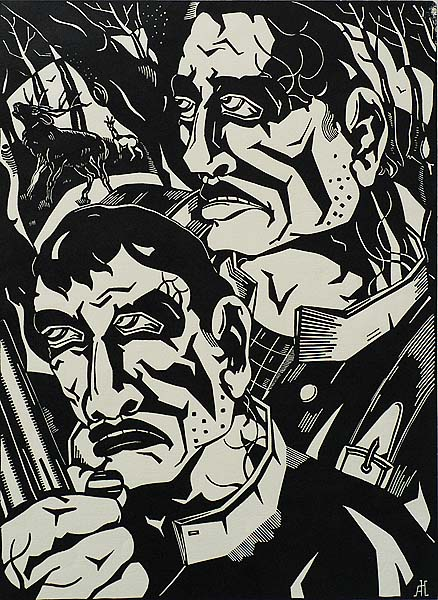The Poachers (Stroopers) - ANTOON  HERCKENRATH - linoleum cut