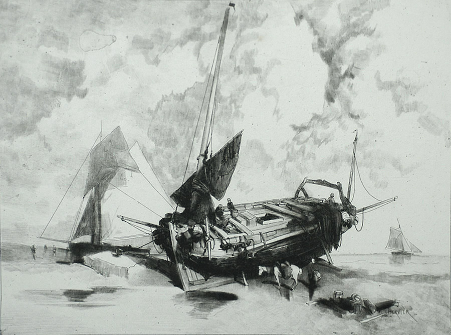 Une Barque à Marée Basse (A Boat at Low Tide) - ADOLPHE HERVIER - etching with roulette