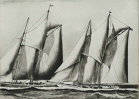 Yacht Racing - EARL HORTER - etching and aquatint
