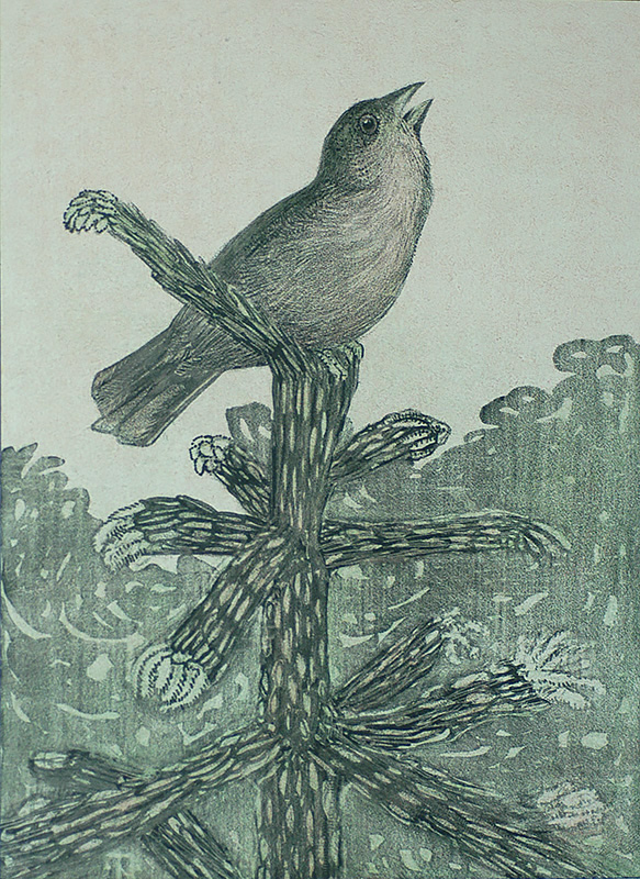Singing Bird on the Tree Branch (Zingend vogeltje op den...) - THEO VAN HOYTEMA - lithograph printed in colors
