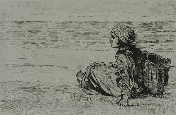 Zittend Meisje met Mand op den Rug (Girl with a Basket on her Back) - JOZEF ISRAELS - etching