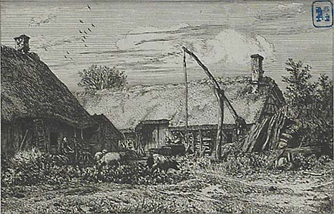Paysage - Chaumieres - CHARLES JACQUE - etching