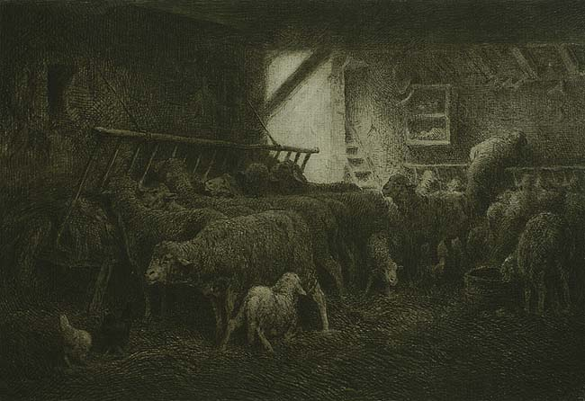 Inside the Sheepfold (horizonal view); Interieur de la Bergerie, en largeur) - CHARLES JACQUE - etching with roulete work