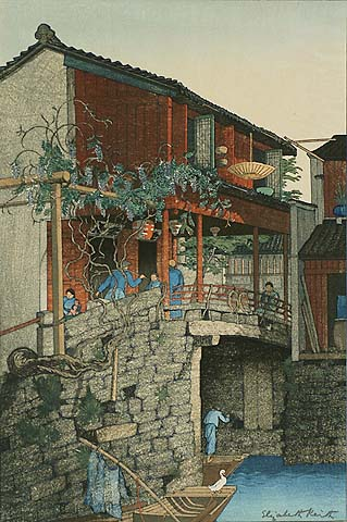 Wisteria Bridge, China - ELIZABETH  KEITH - woodcut printed in colors
